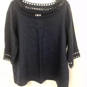 J Jill linen navy blouse M